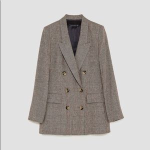 Zara Checked Double Breasted Blazer